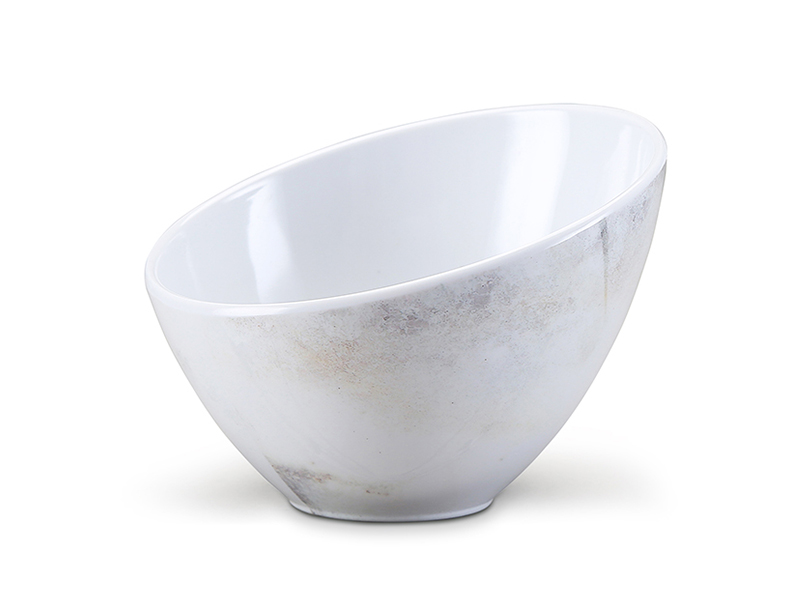 Shall melamine sland serving bowl with marble design