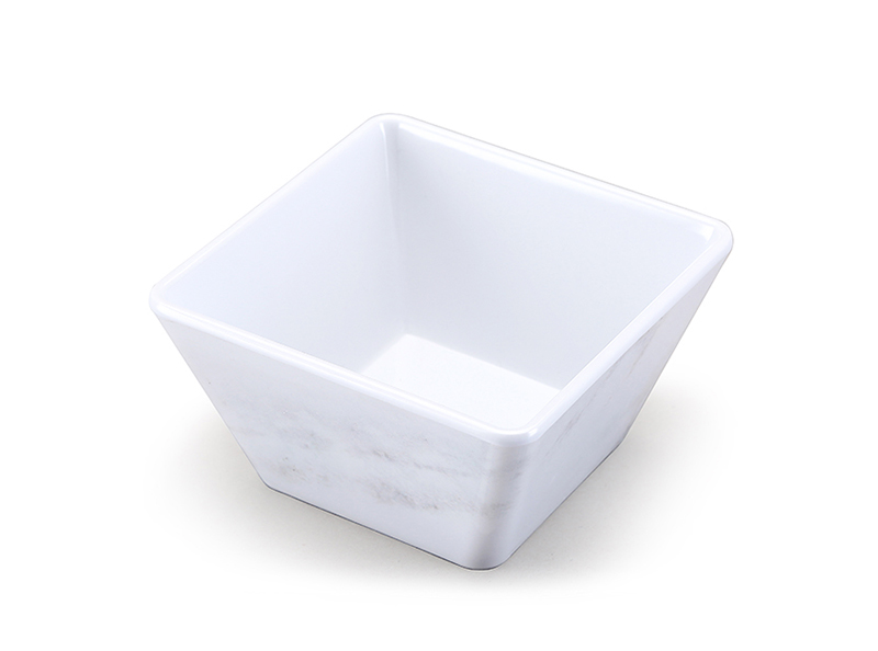 Shall melamine square salad bowl with marble design