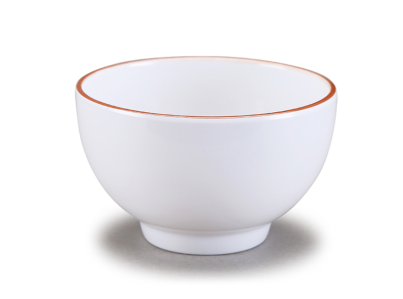 "Melamine serving bowl with golden rim 6""/4"""