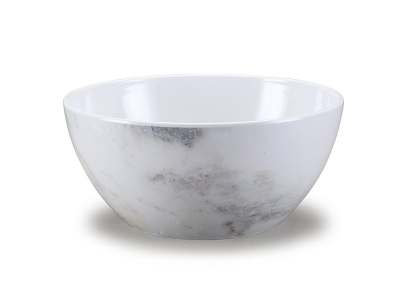 Shall melamine serving bowl with marble design